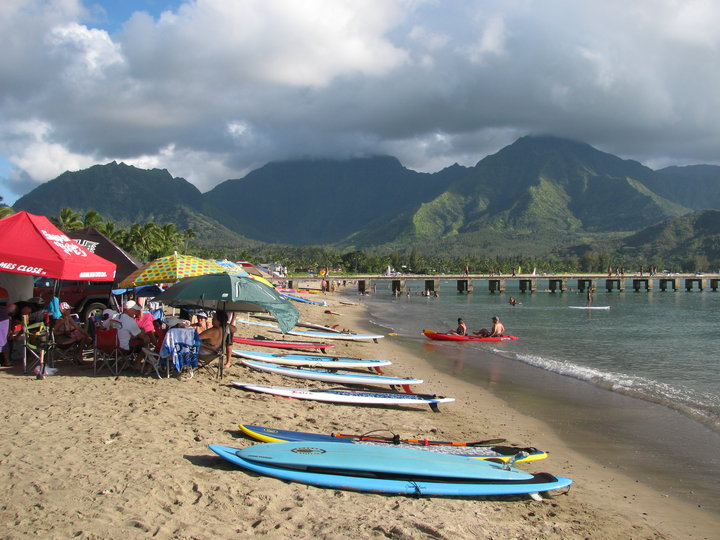 Standup Paddle Boarding at Jazz The Glass in Hanalei, Hawaii 2013